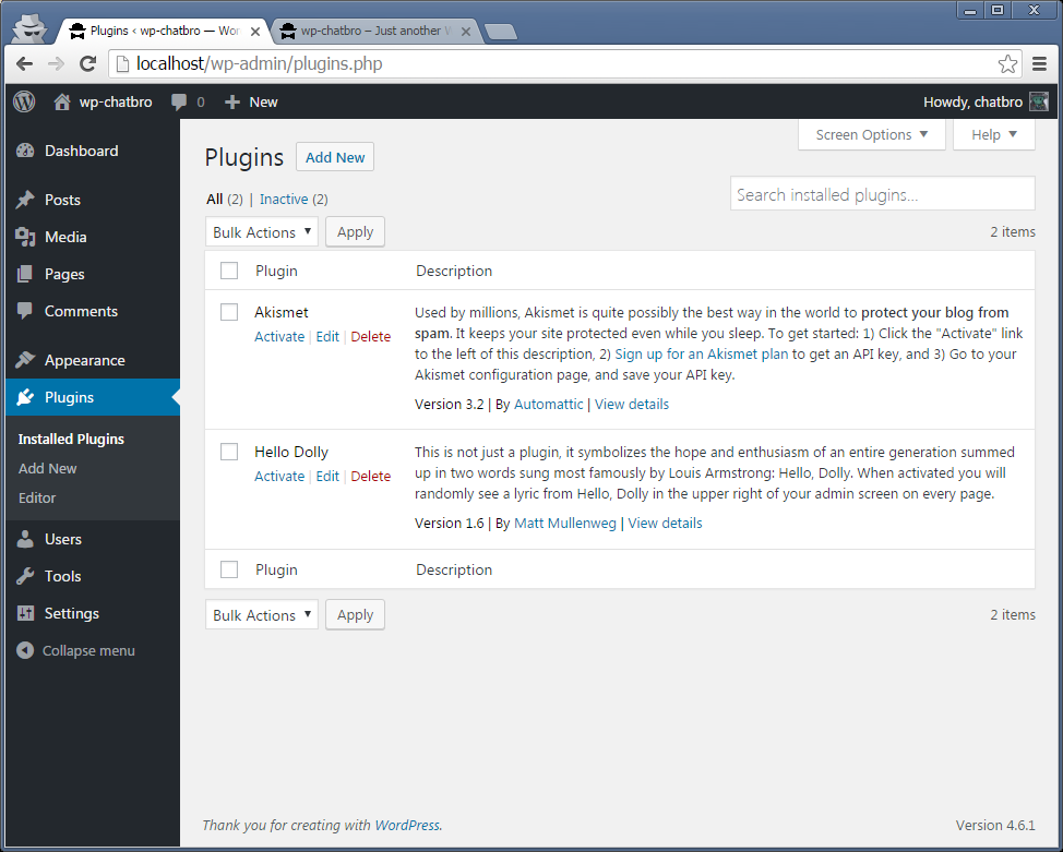 Wordpress -> Admin -> Plugins -> Add new